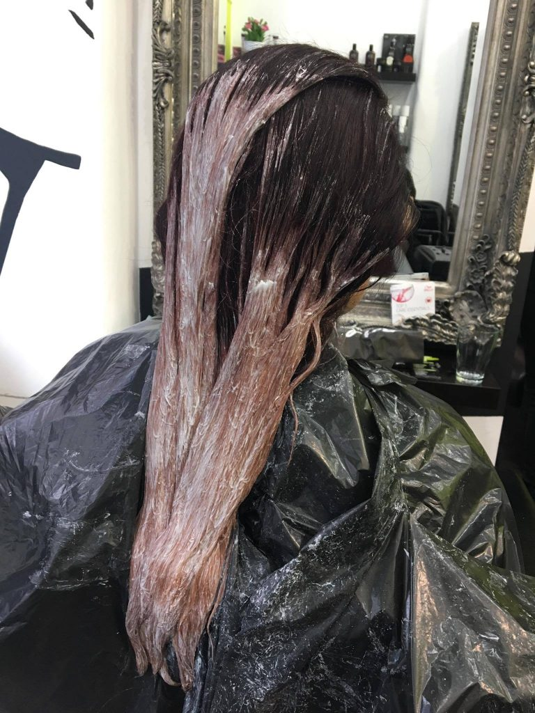We applied the first step of bleach and waited to see how the hair reacted