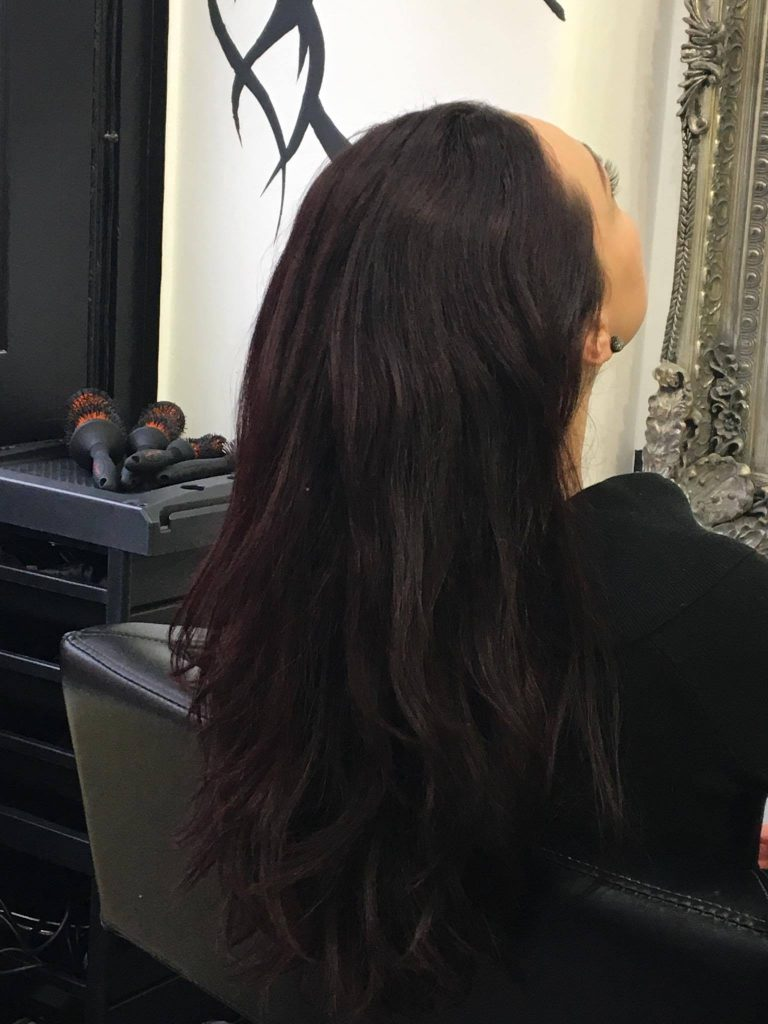 Case study for brown hair with aubergine hues