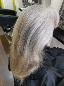 Before hair colouring. Natural grey hair