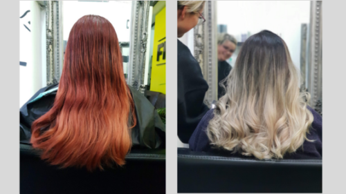 From crimson red to ash blond balayage