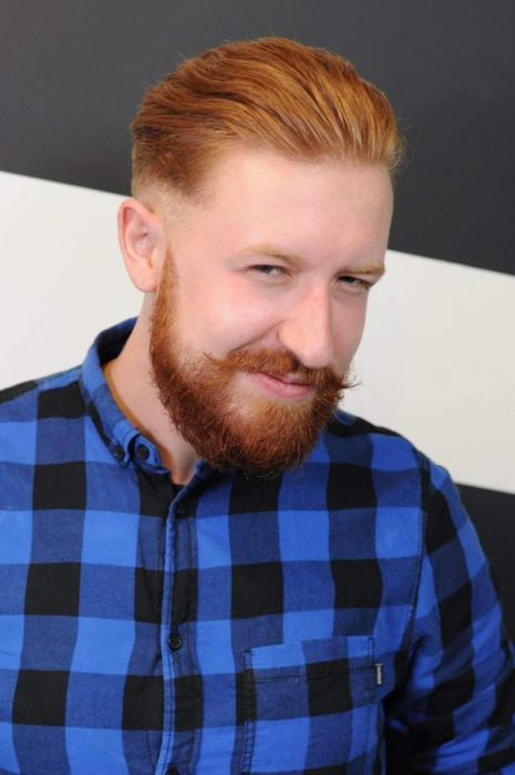 High fade, beard and moustache
